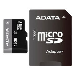Карта памяти micro SDHC, 16 GB, A-DATA Premier, 50 Мб/<wbr/>сек. (class 10), с адаптером