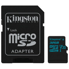 Карта памяти microSDHC 32 GB KINGSTON Canvas Go UHS-I U1, 90 Мб/<wbr/>сек (class 10), адаптер, SDCG2/<wbr/>32GB