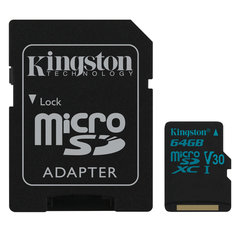 Карта памяти microSDXC 64 GB KINGSTON Canvas Go UHS-I U3, 90 Мб/<wbr/>сек (class 10), адаптер, SDCG2/<wbr/>64GB