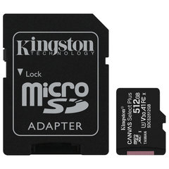 Карта памяти microSDXC 512 GB KINGSTON Canvas Select Plus UHS-I U3,100 Мб/<wbr/>с (class 10), адаптер, SDCS2/<wbr/>512GB