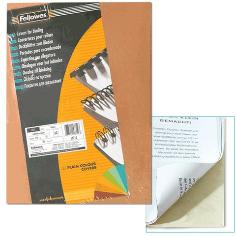 Обложки для переплета FELLOWES, комплект 100 шт., «Delta» (тиснение под кожу), А4, картон 270 г/<wbr/>м<sup>2</sup>, «слоновая кость»