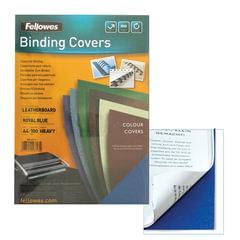 Обложки для переплета FELLOWES, комплект 100 шт., «Delta» (тиснение под кожу), А4, картон 250 г/<wbr/>м<sup>2</sup>, синие