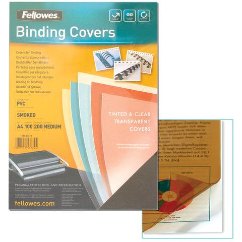 Обложки для переплета FELLOWES, комплект 100 шт., Transparent, А4, пластиковые, 200 мкм, прозрачно-дымчатые