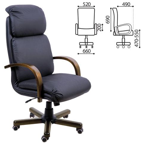 """Кресло офисное """"Надир-экстра"""", дерево, натуральная кожа, черное"""
