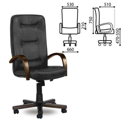 Кресло офисное «Сенатор-экстра», дерево, натуральная кожа, черное