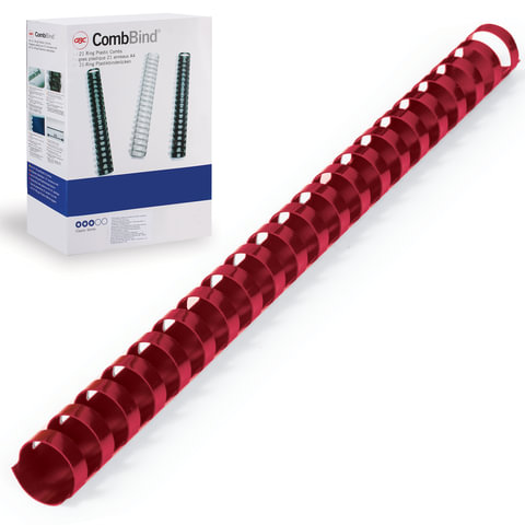 Пружины пластиковые для переплета GBC (ДжиБиСи, Англия), комплект 100 шт., 19 мм, на 146-165 л., красные