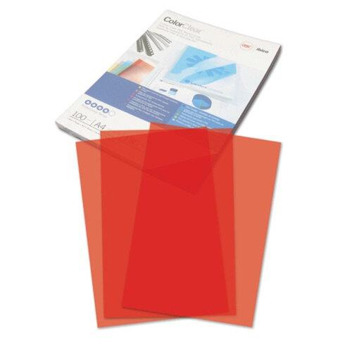 Обложки для переплета GBC (ДжиБиСи), комплект 100 шт., PVC Transparent, A4, пластиковые, 180 мкм, прозрачно-красные