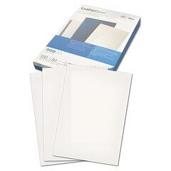 Обложки для переплета GBC (Англия), комплект 100 шт., LeatherGrain (тиснение под кожу), A4, картон, белые