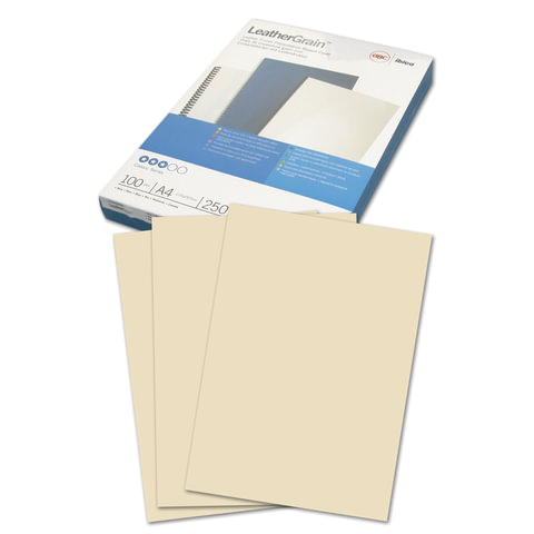 Обложки для переплета GBC (ДжиБиСи), комплект 100 шт., LeatherGrain (тиснение под кожу), A4, картон, «слоновая кость»