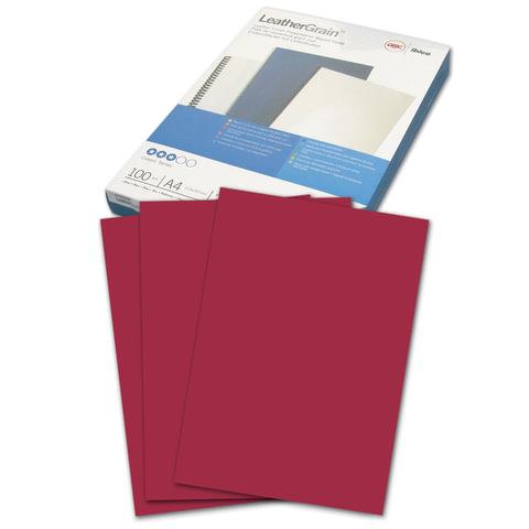 Обложки для переплета GBC (ДжиБиСи), комплект 100 шт., LeatherGrain (тиснение под кожу), A4, картон, темно-красные
