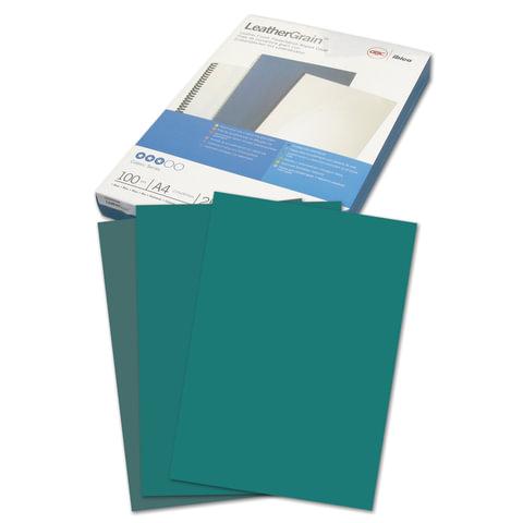 Обложки для переплета GBC (Англия), комплект 100 шт., LeatherGrain (тиснение под кожу), A4, картон, зеленые