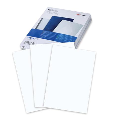 Обложки для переплета GBC (Англия), комплект 100 шт., HiGloss, А4, картон 250 г/м2, белые