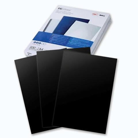 Обложки для переплета GBC (Англия), комплект 100 шт., HiGloss, А4, картон 250 г/м2, черные