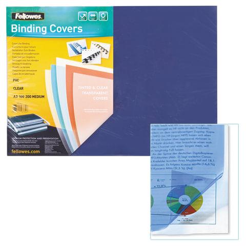 Обложки для переплета FELLOWES, комплект 100 шт., Transparent, А3, пластиковые, 200 мкм, прозрачные