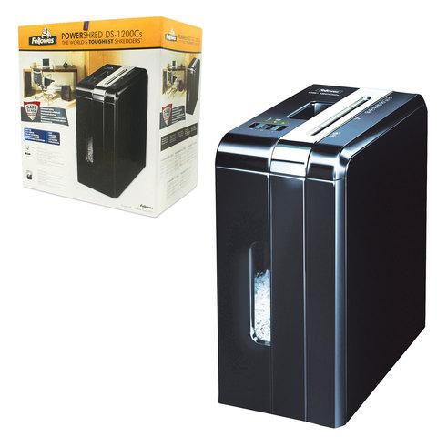 Уничтожитель (шредер) FELLOWES DS-1200Cs, для 1 человека, 3 уровень секретности, 4x50 мм, 12 листов, 15 л, скобы, скрепки, карты