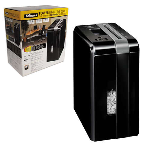 Уничтожитель (шредер) FELLOWES DS-500С, на 1 человека, 4 уровень секретности, 4x38 мм, 5 листов
