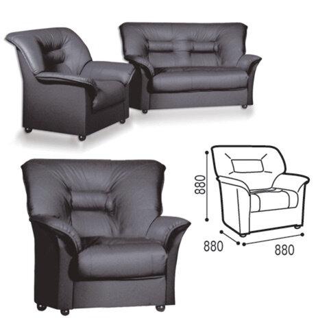 """Кресло """"V-100"""", 880х880х880 мм, c подлокотниками, экокожа, черное"""