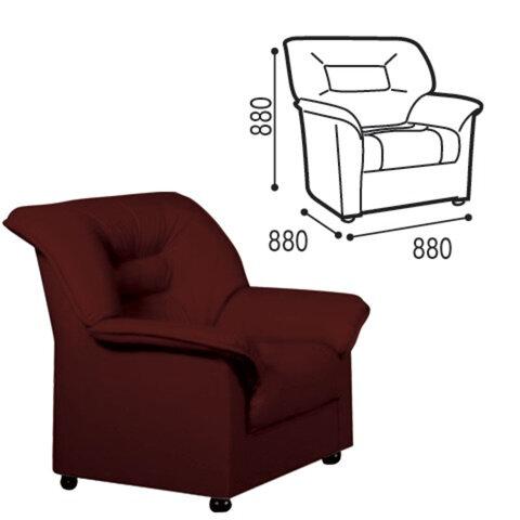 Кресло «V-100», 880×880×880 мм, c подлокотниками, экокожа, коричневое