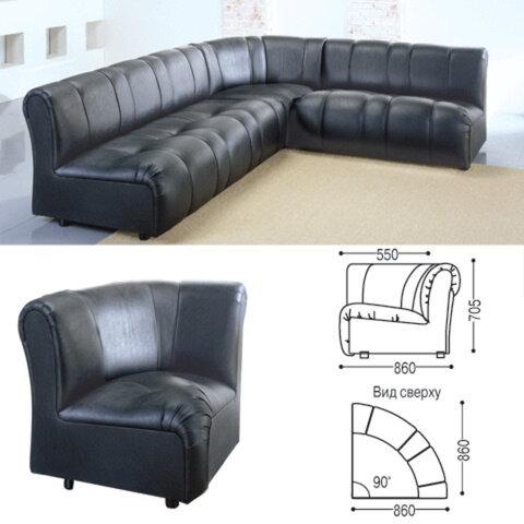 Кресло (секция) угловое «Ригель», 705×860×860 мм, без подлокотников, экокожа, черное