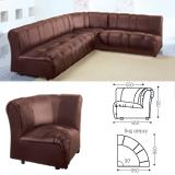 Кресло (секция) угловое «Ригель», 705×860×860 мм, без подлокотников, экокожа, коричневое