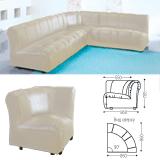 Кресло (секция) угловое «Ригель», 705×860×860 мм, без подлокотников, экокожа, бежевый