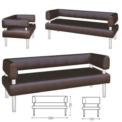Диван трехместный «V-500», 730×1560×720 мм, c подлокотниками, экокожа, коричневый