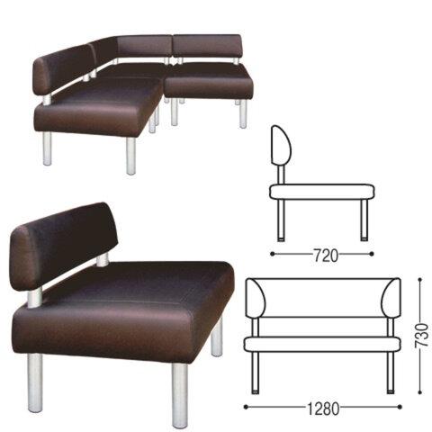 Диван (секция) двухместный «V-500», 730×1280×720 мм, без подлокотников, экокожа, коричневый