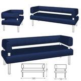 Диван трехместный «V-500», 730×1560×720 мм, c подлокотниками, экокожа, синий