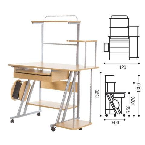 Стол компьютерный на металлокаркасе NS «CK-102», 1390×1120×600 мм, ДСП, цвет «бук»
