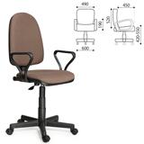 Кресло оператора «Престиж», с подлокотниками, коричневое