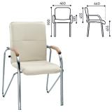 Кресло для приемных и переговорных «Samba», деревянные накладки, хромированный каркас, кожзам бежев.