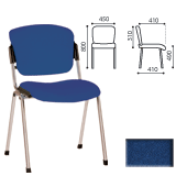 Стул для персонала и посетителей «Era», хромированный каркас, ткань синяя