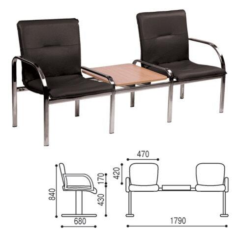 Кресло для посетителей двухсекционное, со столом, «Staff 2T», хром, кожзаменитель черный