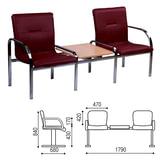 Кресло для посетителей двухсекционное, со столом, «Staff 2T», хром, кожзаменитель бордовый
