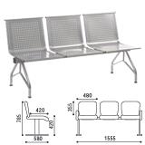 Кресло для посетителей трехсекционное «Стилл», 785×1555×580 мм, серебристое