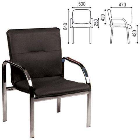 Кресло для приемных и переговорных «Staff», с подлокотниками, кожзаменитель, хром, черное