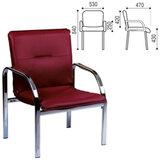 Кресло для приемных и переговорных «Staff», с подлокотниками, кожзаменитель, хром, бордовое
