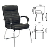 Кресло для приемных и переговорных «Orion CFA/<wbr/>LB steel chrome», кожа, черное