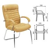 Кресло для приемных и переговорных «Orion CFA/<wbr/>LB steel chrome», кожа, песочное