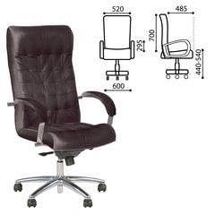 Кресло офисное «Lord steel chrome», кожа, хром, черное