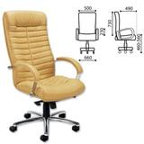 Кресло офисное «Orion steel chrome», кожа, хром, песочное
