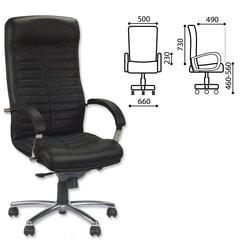 Кресло офисное «Orion steel chrome», кожа, хром, черное