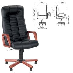 Кресло офисное «Atlant extra», кожа, дерево, черное