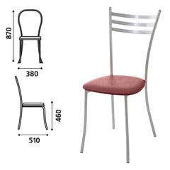 Стул для столовых, кафе, дома «Флоренция», серебристый каркас, кожзам бордовый глянец