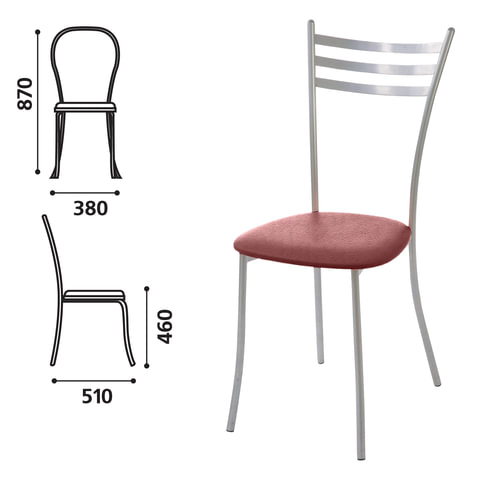 """Стул для столовых, кафе, дома """"Флоренция"""", серебристый каркас, кожзам бордовый глянец"""