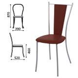 Стул для столовых, кафе, дома «Ланч», серебристый каркас, кожзам коричневый глянец