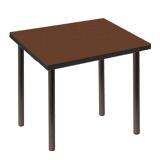 Стол для столовых, кафе, дома «Стиль», 720×720×735 мм, черный каркас, пластик темное дерево, матовое