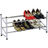 Полка для обуви, металл, регулируемая, 630-1200×230×350 мм, 2 отделения, хром