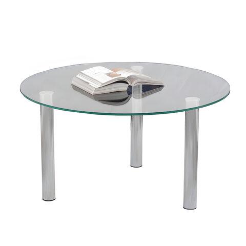 Стол журнальный, стекло/<wbr/>металл, Кристалл — ОМ, 800×800×417 мм, хром