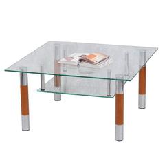 Стол журнальный, стекло/<wbr/>дерево/<wbr/>металл, Кристалл — ПК (П), 1000×600×417 мм, хром
